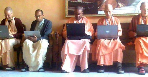 ISKCON gurus checking their email