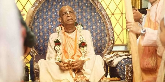 Srila Prabhupada Playing Kartals on Vyassasana at New Vrindavan